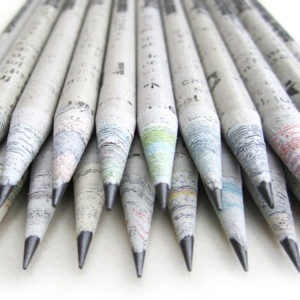 Image result for recycled newspaper pencil